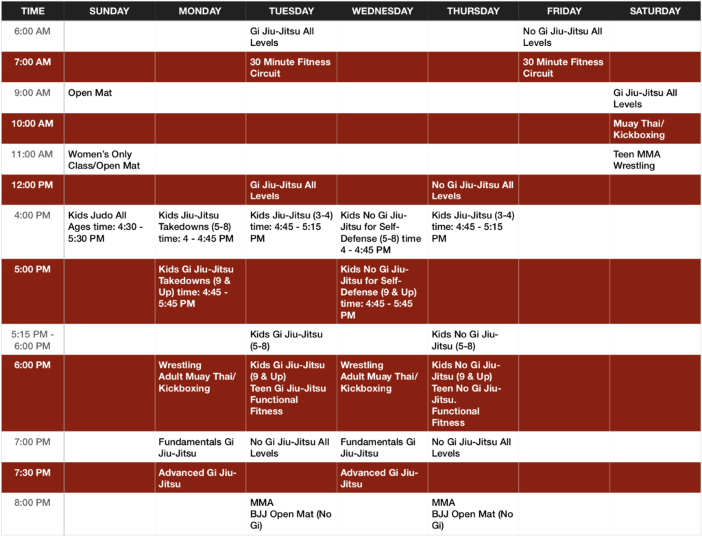 South Tampa MMA and BJJ Schedule